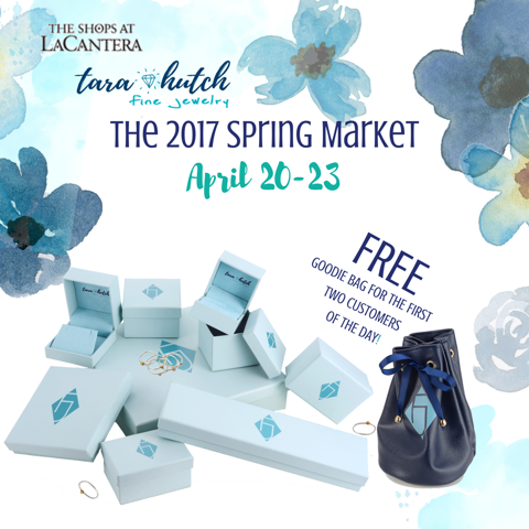 Ad featuring blue jewelry boxes. Stack of boxes photographed on white with flower designs and headlins