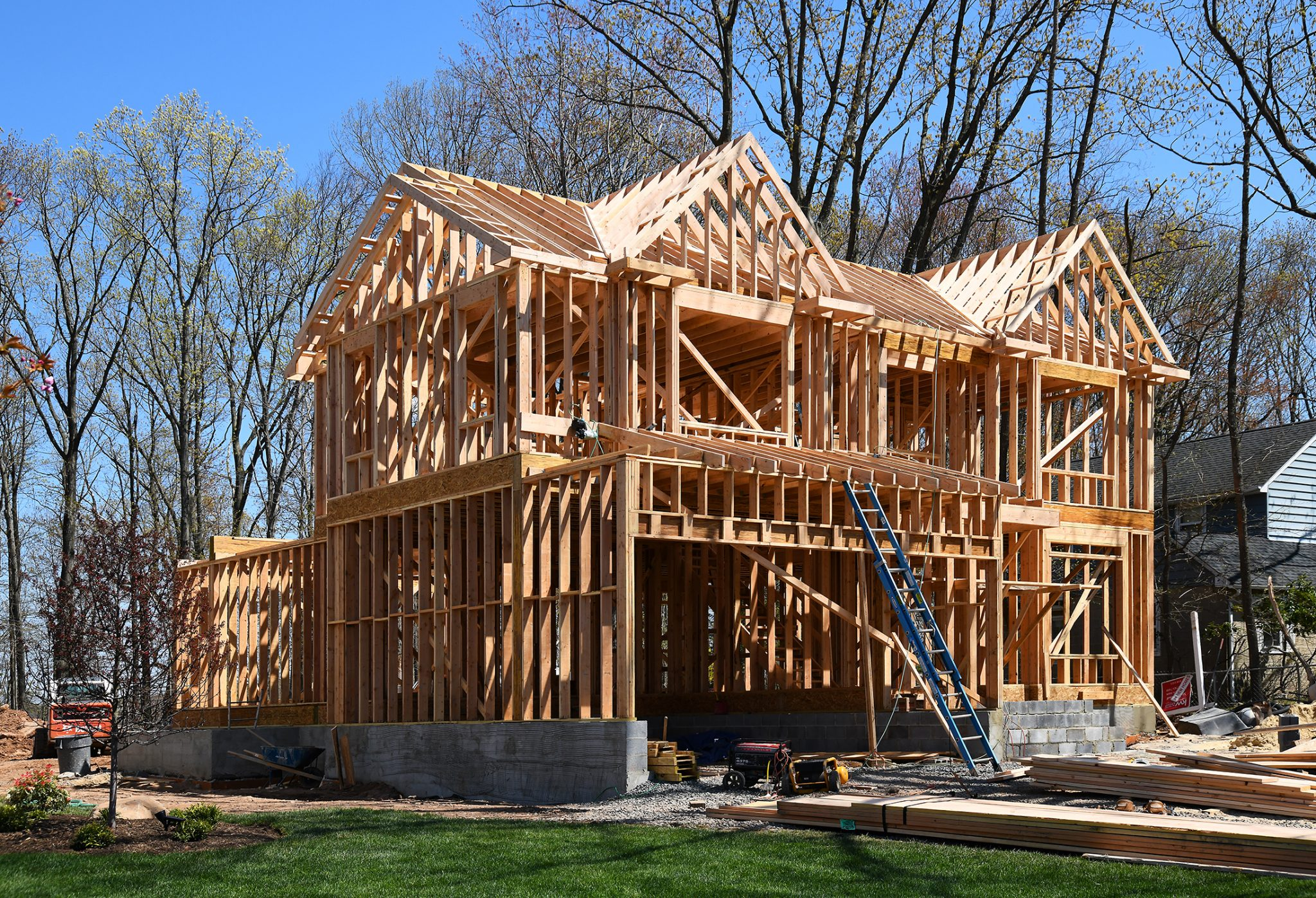 House under construction showing basic framing with 2X4s