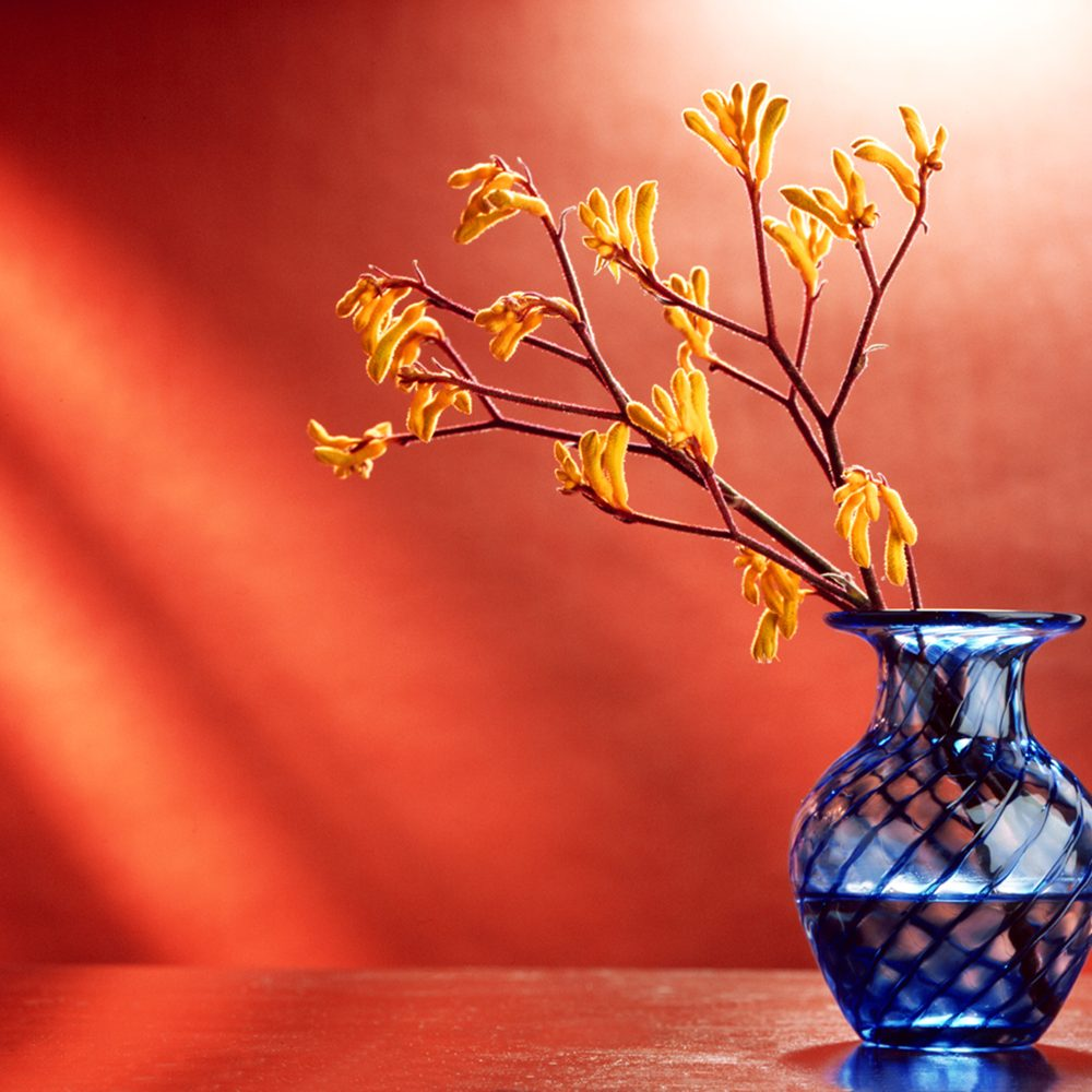 Blue vase holding yellow buds sitting on wood dresser top with orange slashes of light in background Product Photography