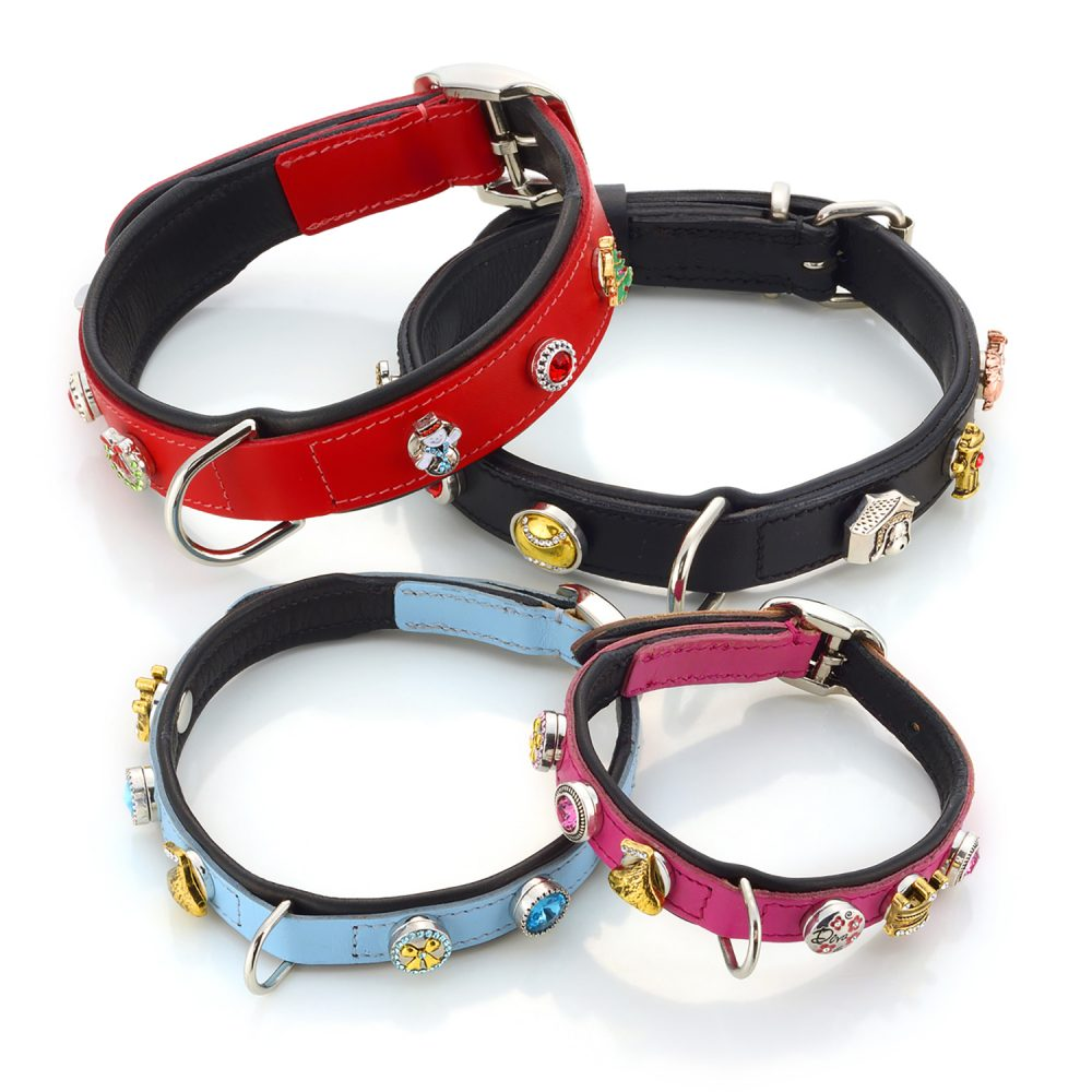 Styled product photo of four pet collars, one red, one black, one blue and one pink, all with decorative charms attached, all on white background Product Photography